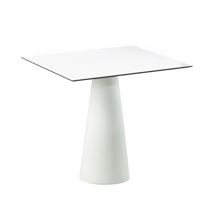 Hopla Table Carree 72cm Largeur 69cm Blanc Laque Par Slide Design