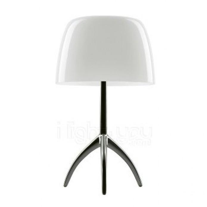 Lumiere Grande Lampe De Table Chrome Noire Abat Jour Blanc Avec