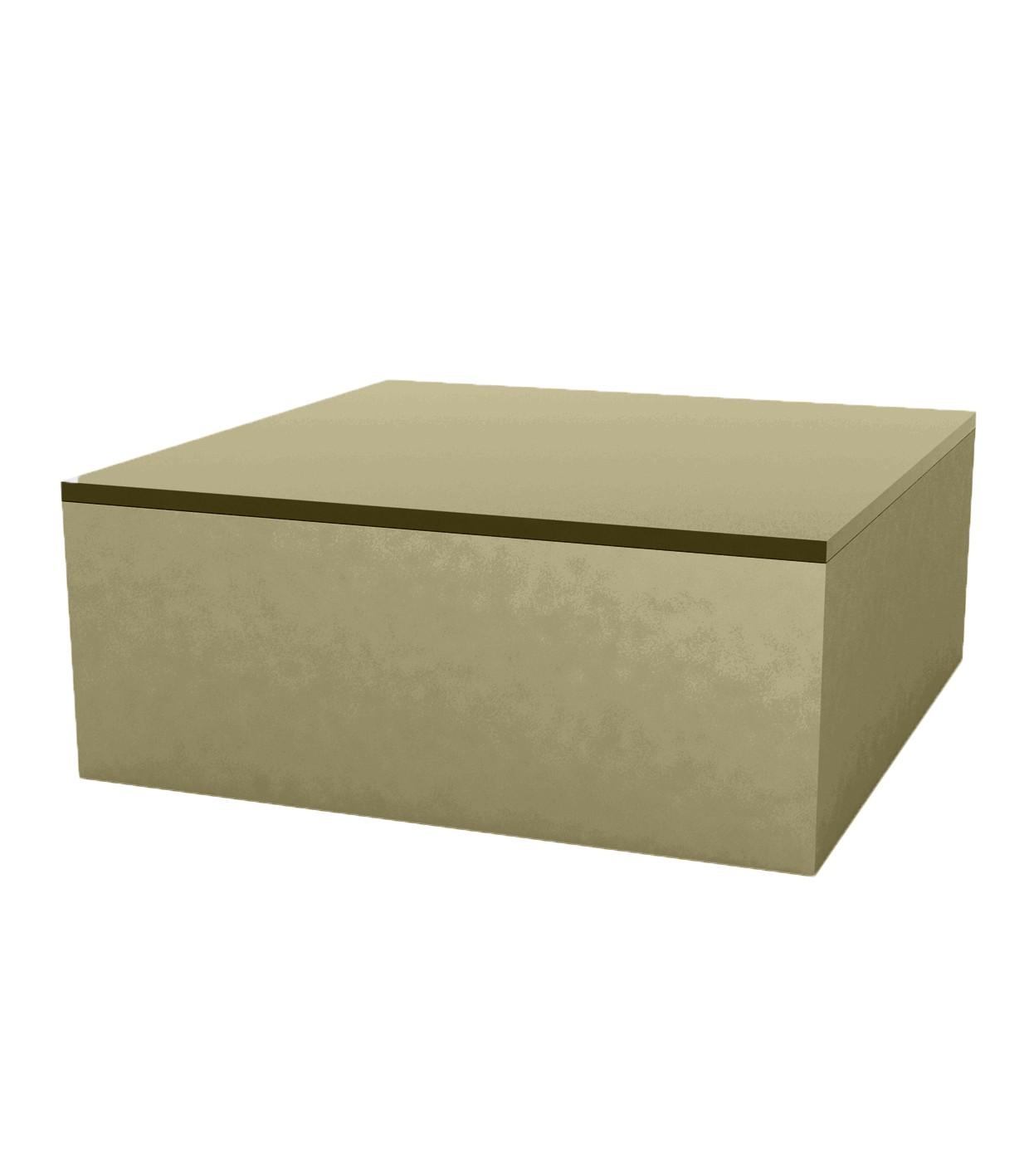 Quadrat Table Basse 80x80x32cm Kaki Laque