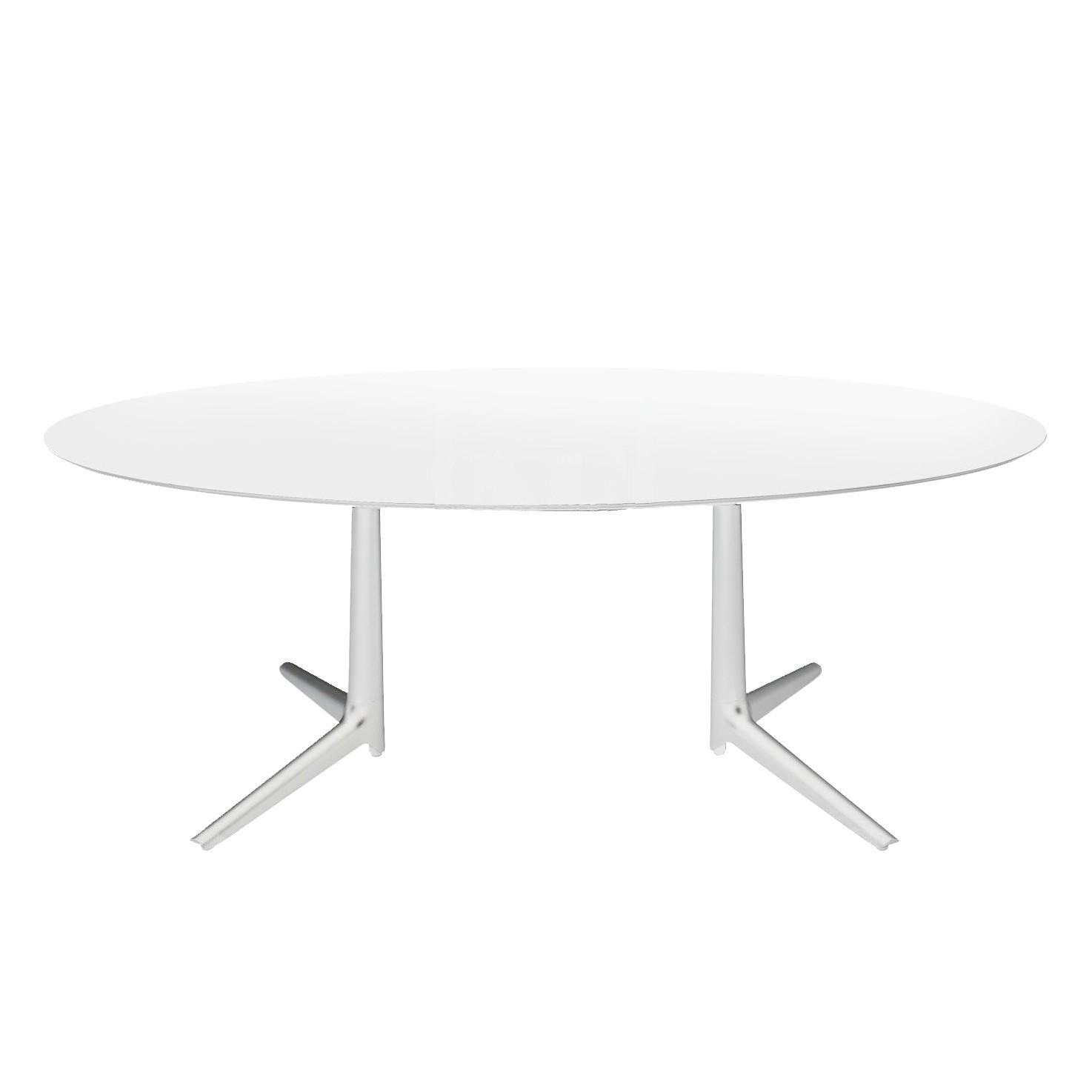 Nouveau Multiplo XL Table Ovale Extérieur Blanc - Plateau Verre par Kartell | YL-83